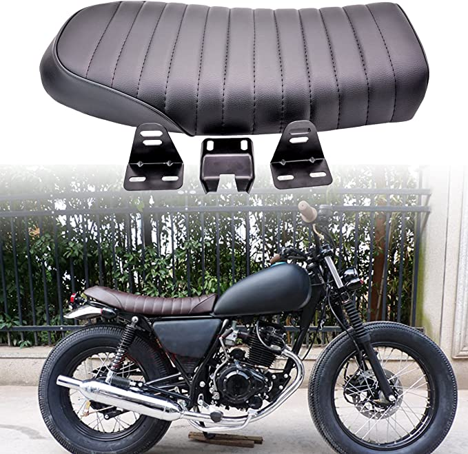 cuero de la PU Cuero de la vendimia Cafe Racer Asiento Coj/ín de asiento plano para CG125 GN CG CB400SS C Coj/ín de la motocicleta
