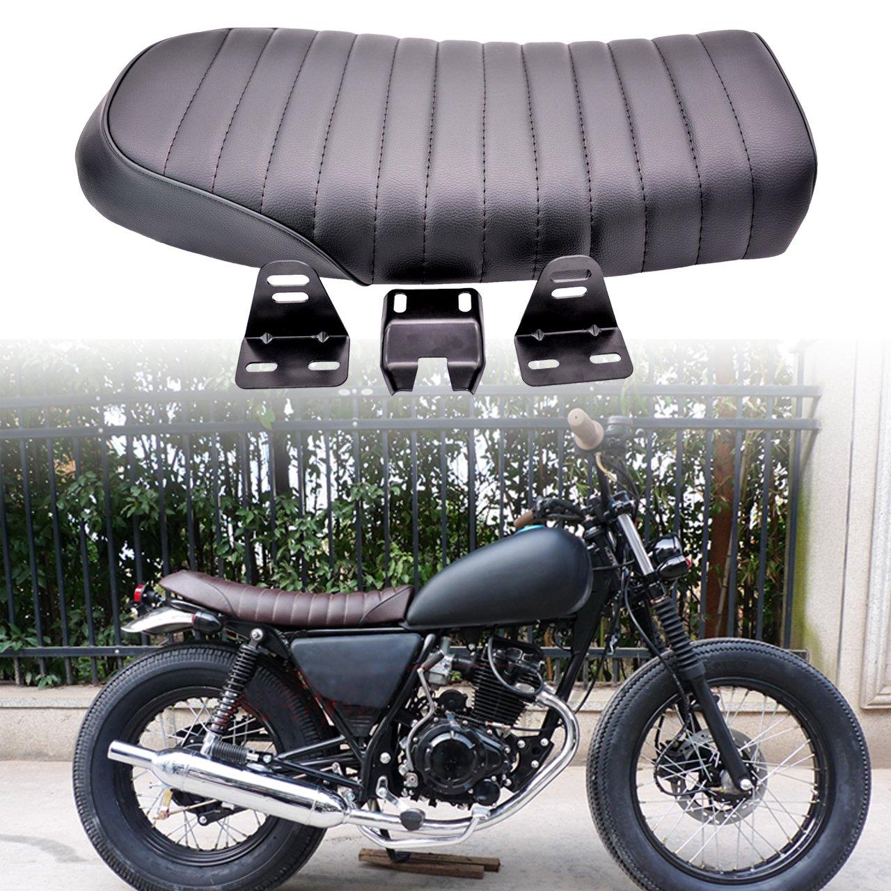 Sillí n KaTur acolchado, universal, plano, de estilo vintage 'Cafe Racer', de color negro y para motocicletas Honda de estilo vintage Cafe Racer