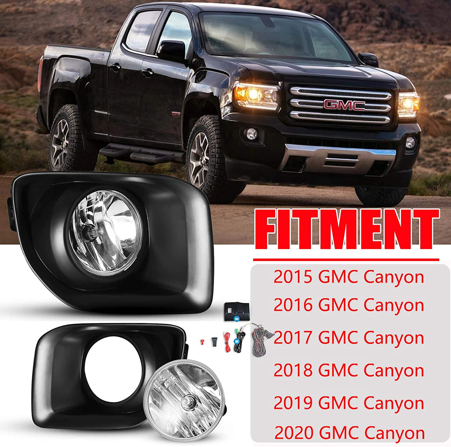 Amazon.com: Fog Lights Assembly for 2015-2020 GMC Canyon with  Bulbs,AUTOFREE Driving Fog Lamps Replacement Include Wiring Kit and Switch  and Switch board,1 Pair(Left and Right): AutomotiveAmazon.com