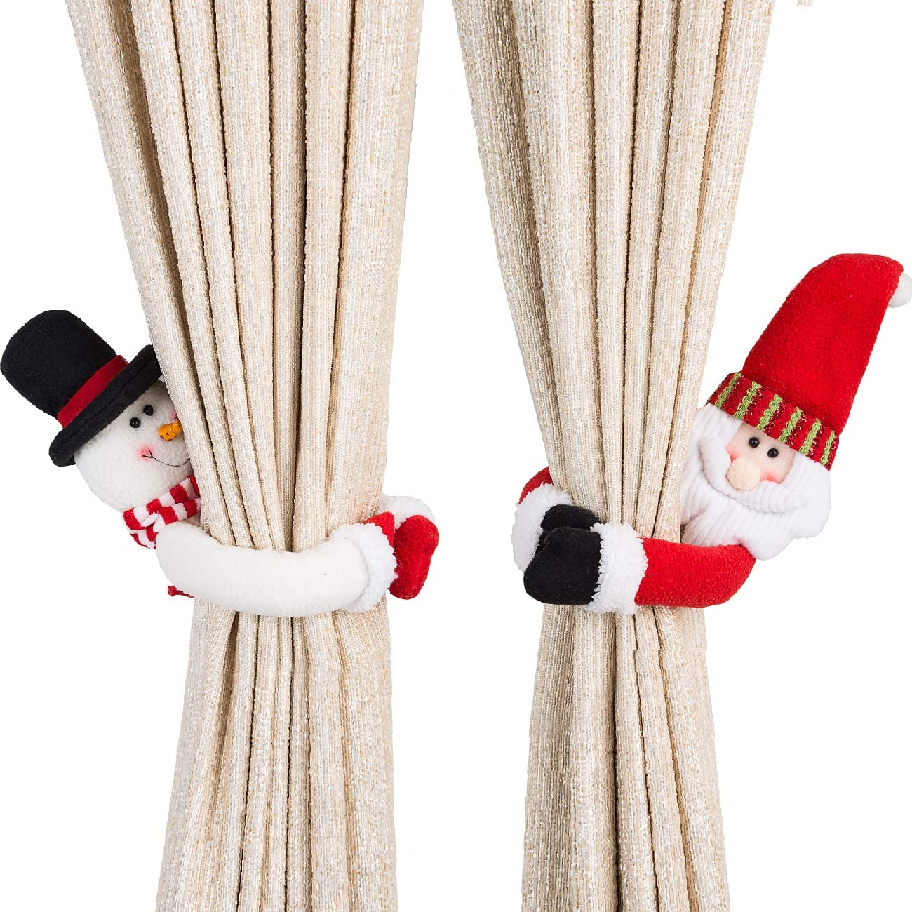 Ogrmar 2 Pack Christmas Curtain Buckle Doll Santa & Snowman Creative Curtain Tieback Hold Back Fastener,Christmas Wine Bottle Topper for Xmas Holiday Home Window Decorations