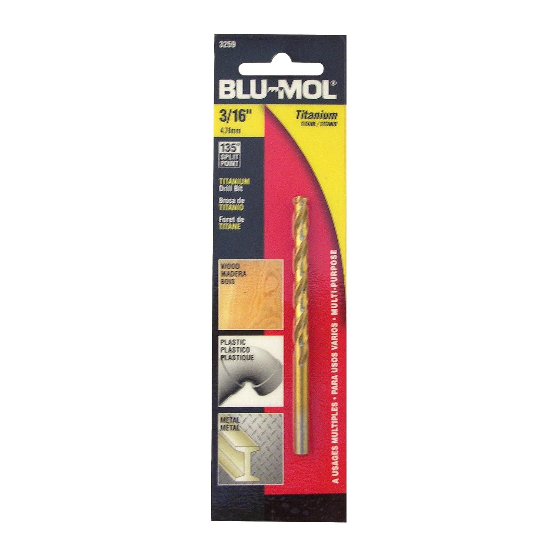 Disston E0102621 Carded Blu-Mol Titanium Jobber Drill Bits Daimeter 3//16-Inch