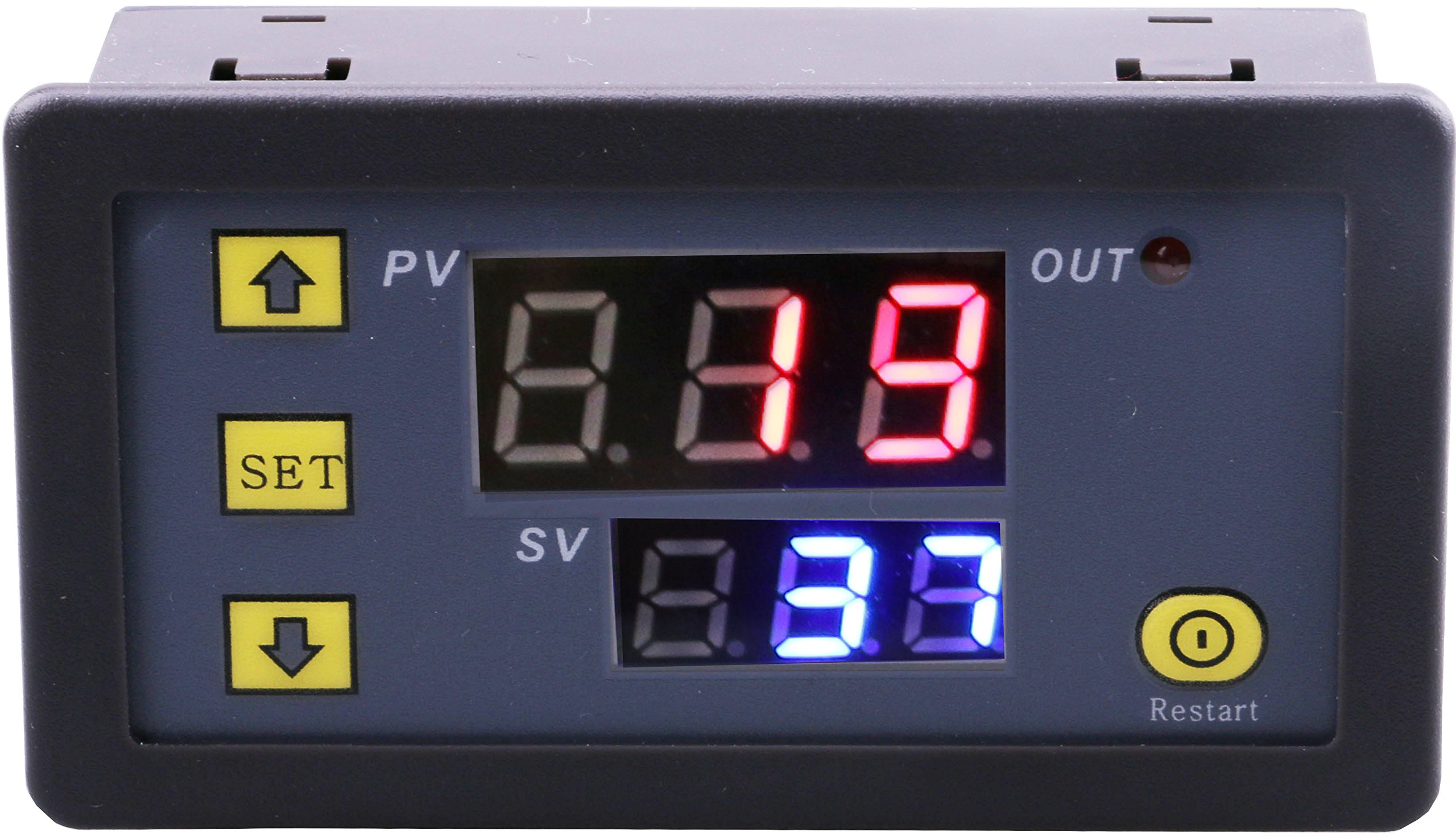 Yeeco Dual Digital Display Red/Blue LED DC 5V Timer Delay Relay Board 1500W 10A Max On Off Timing Relay Switch Module for Automotive Car Vehicle Cycle of time, Time Delay