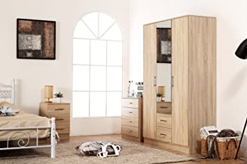 Superb Harmin Ltd Sonoma Oak Mirrored Bedroom Furniture Set Soft Close Wardrobe Chest Bedside Home Interior And Landscaping Ponolsignezvosmurscom