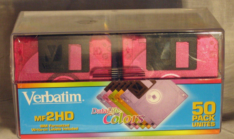 Verbatim DataLife Colors 3.5'' 1.44 MB IBM Formatted HD Computer Disks 50 Pack