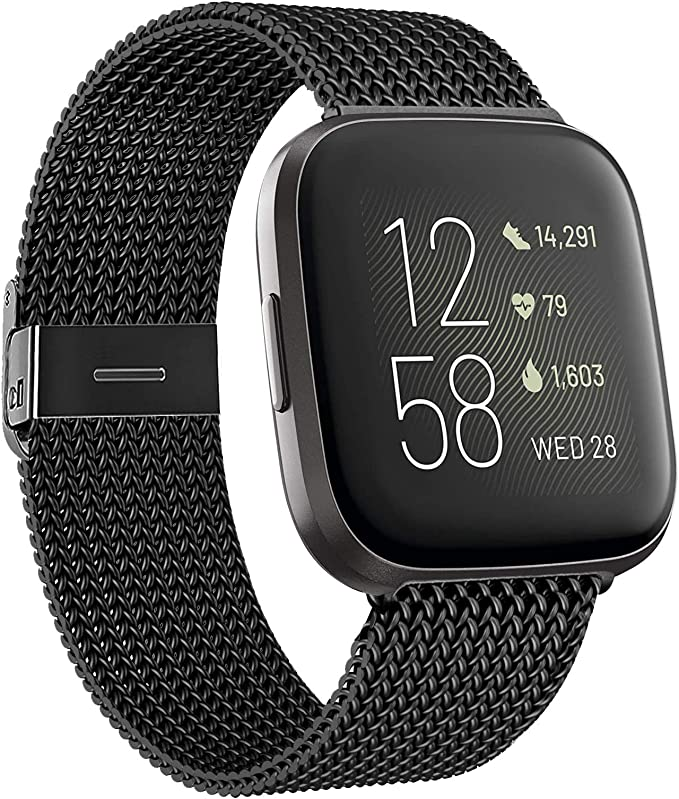 Straps Compatible With Fitbit Versa 2 Sliver SAMMID Luxury Stainless Steel Band Bangle Bracelet Replacement Fitness Strap with Rhinestones Accessories Metal Band for Fitbit Versa//Versa 2//Versa Lite