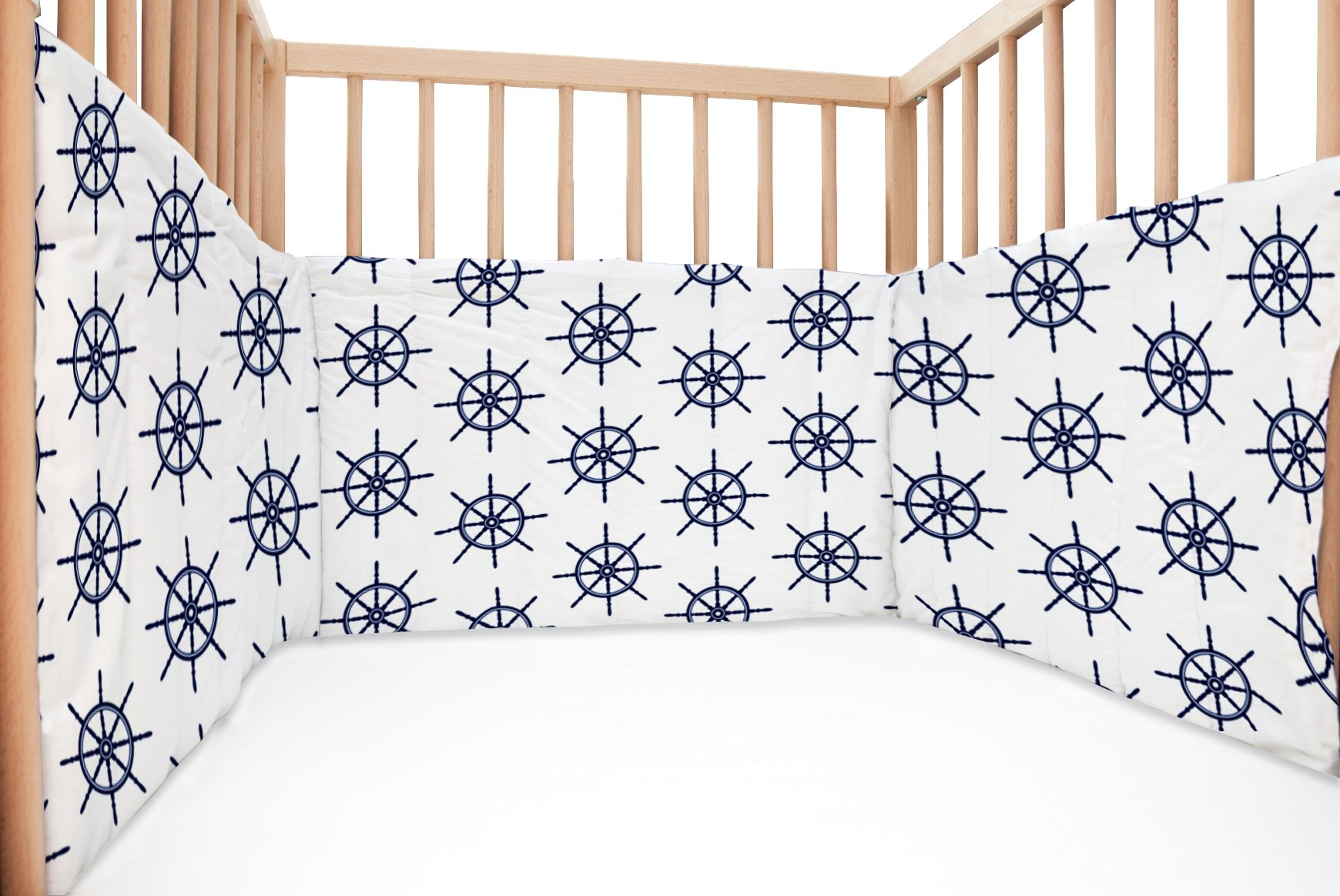 Baby Navy / SoulBedroom Cotton Cot Bumper Pad Half (210x40 cm)