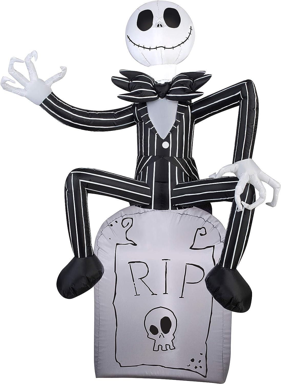 Gemmy Halloween Inflatable 5 Jack Skellington on Grave Stone Nightmare Before Christmas Prop Decoration