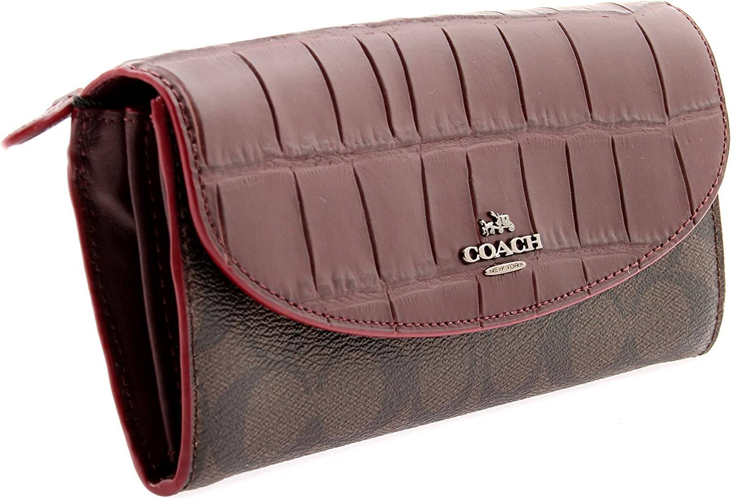 Coach Breast Pocket Wallet Signature Coated Canvas in Charcoal//Black F75013 CQ//BK
