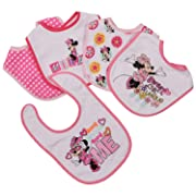 Disney Minnie Mouse 5 Piece Bibs, Sweet and Chic, Pink