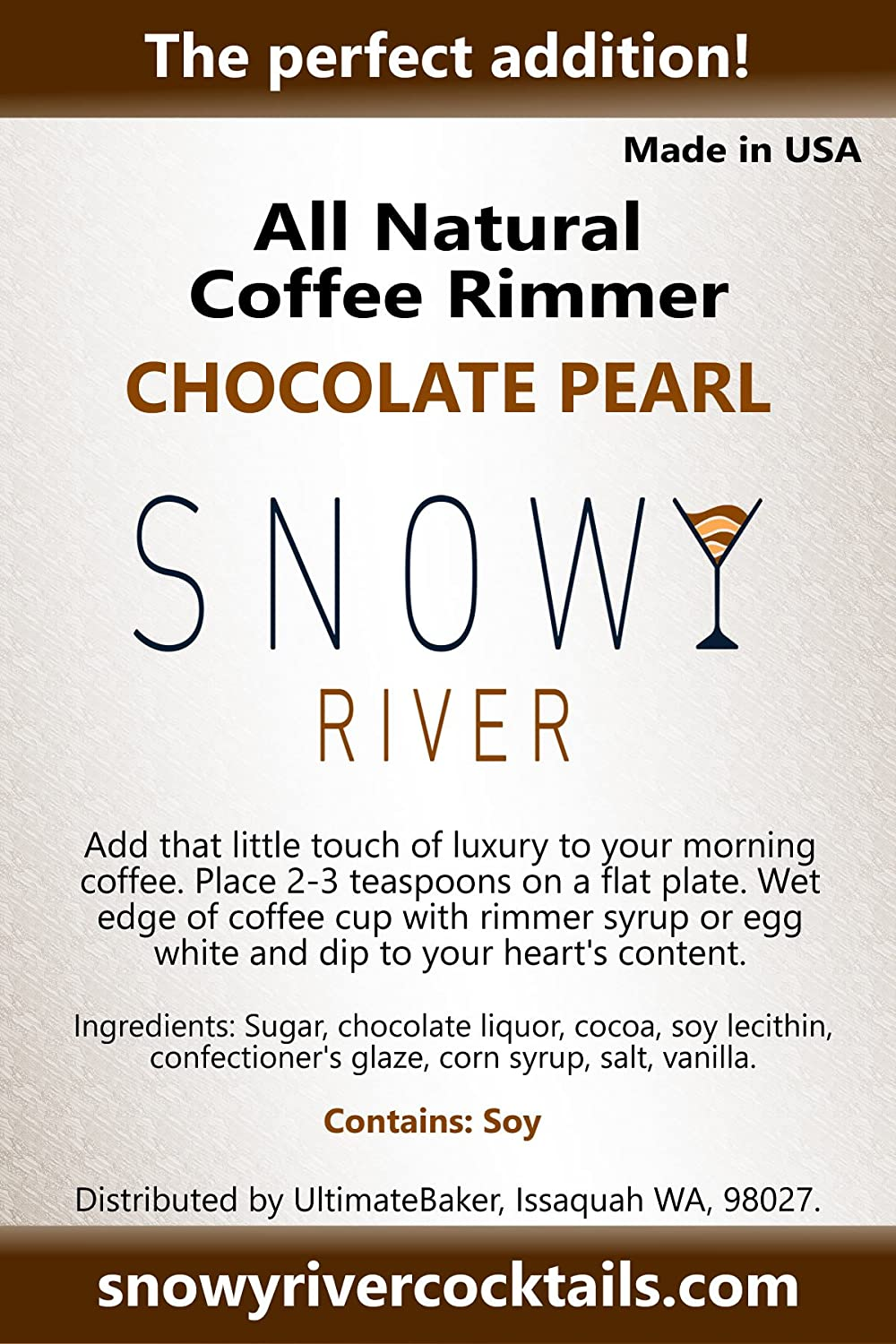 Chocolate Diamond, 1lb All Natural Chocolate Cocktail Sugar and Cocktail Rimer Snowy River Chocolate Coffee Rimmer