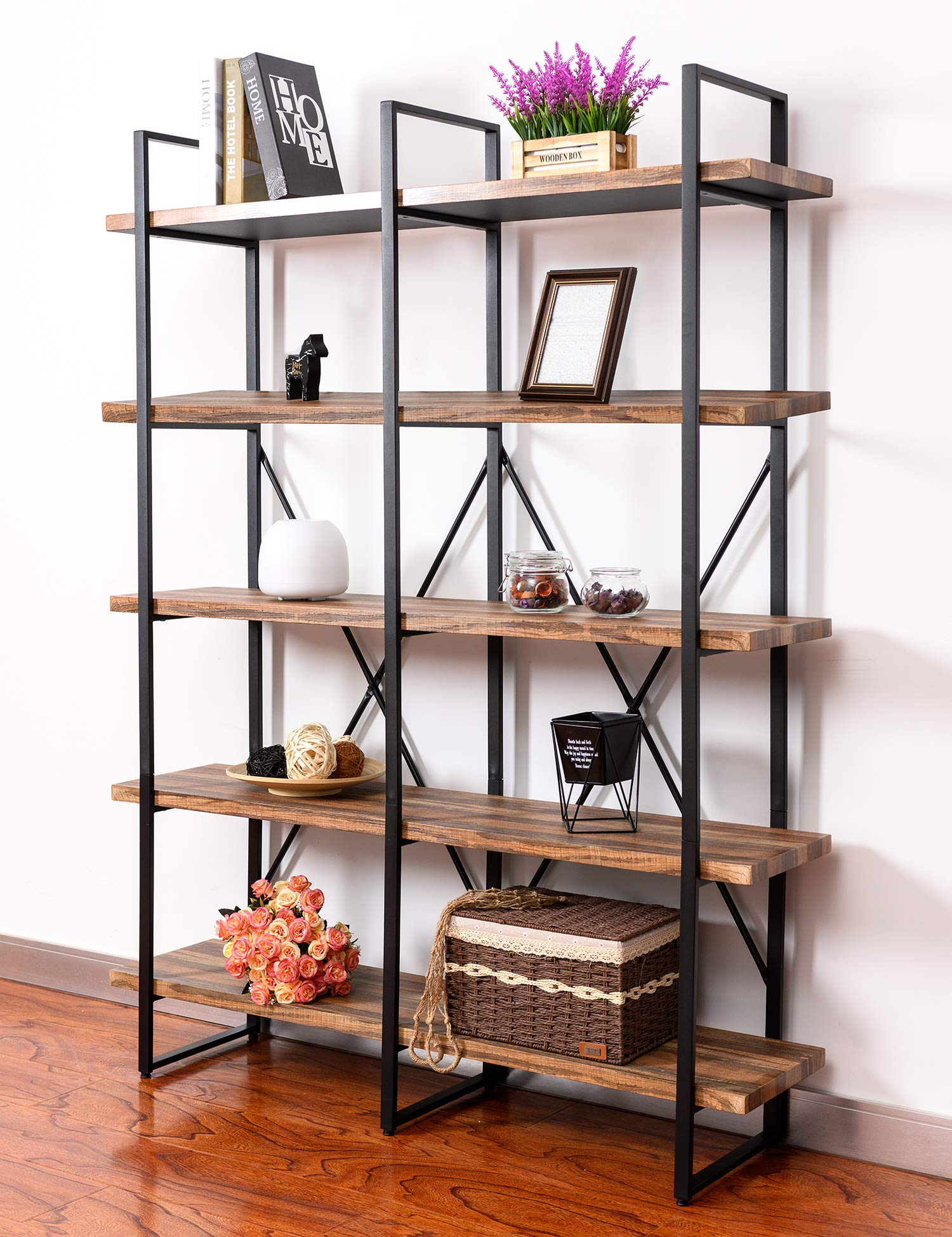 IRONCK Bookshelf, Double Wide 5-Tier Open Bookcase Vintage Industrial Large Shelves, Wood and Metal Etagere Bookshelves, for Home Decor Display, Office Furniture by IRONCK (Image #8)