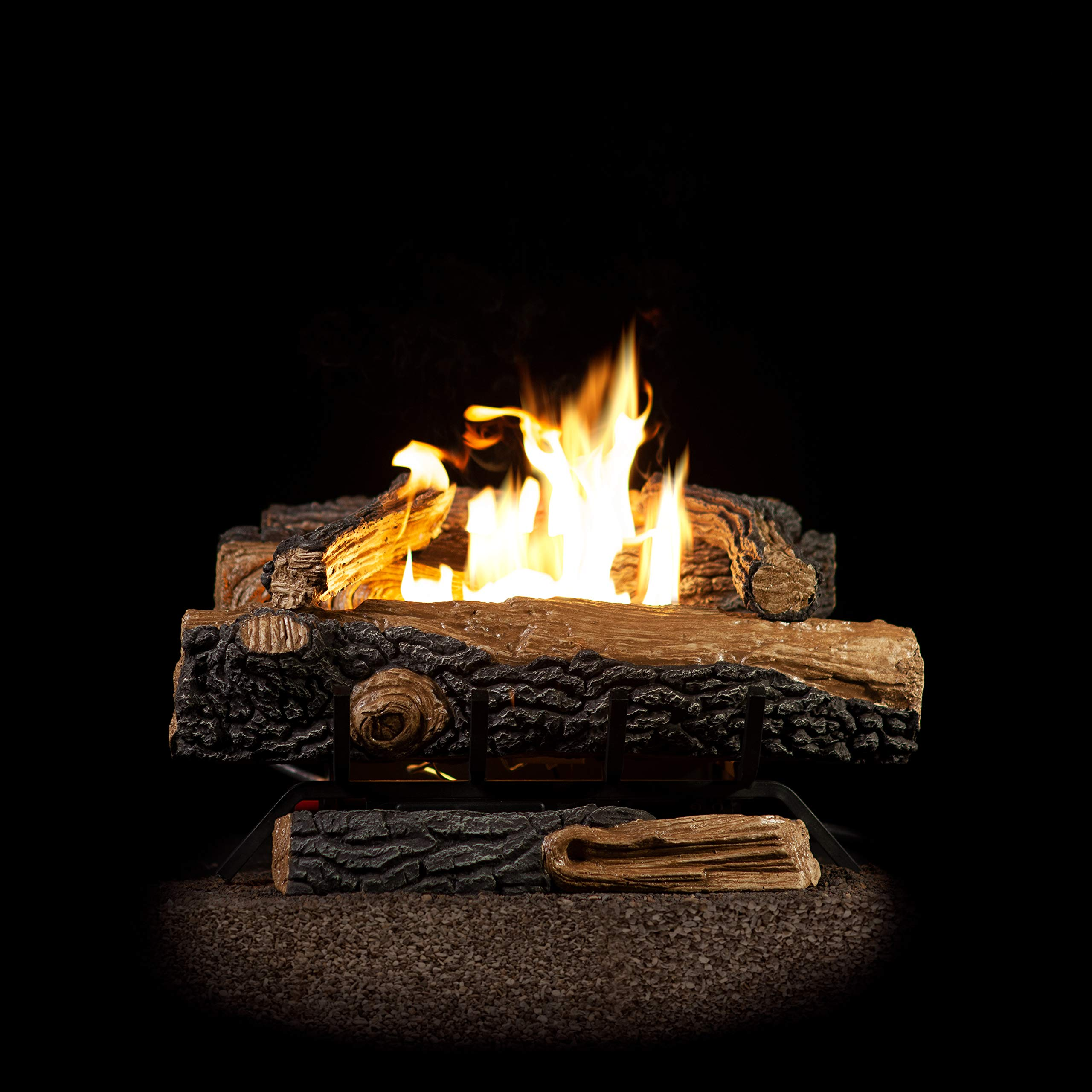 Emberside by SureHeat Sure Heat Mountain Vernon Oak Vent Free Dual Burner Natural Gas Fuel Log Set 18-Inch by Emberside by SureHeat