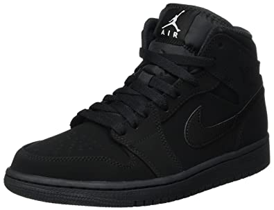 NIKE Air Jordan 1 Mid, Chaussures de Basketball Homme, Noir White-Black,