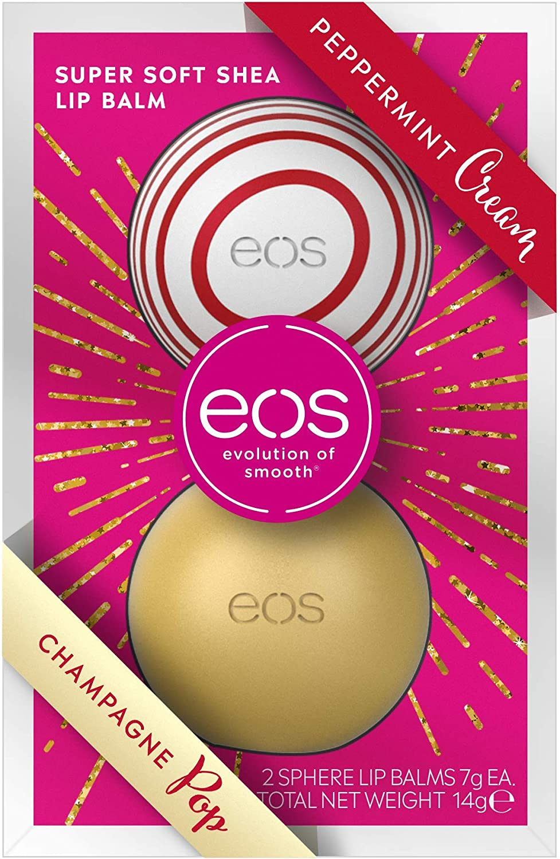 Eos Winter Edition Duo Set Lip Balm Sphere Box: Peppermt Cream & Champagne Pop, Hidratante Labios Cuidado de labios, idea de regalo para Navidad, juego de 2 unidades: Amazon.es: Belleza