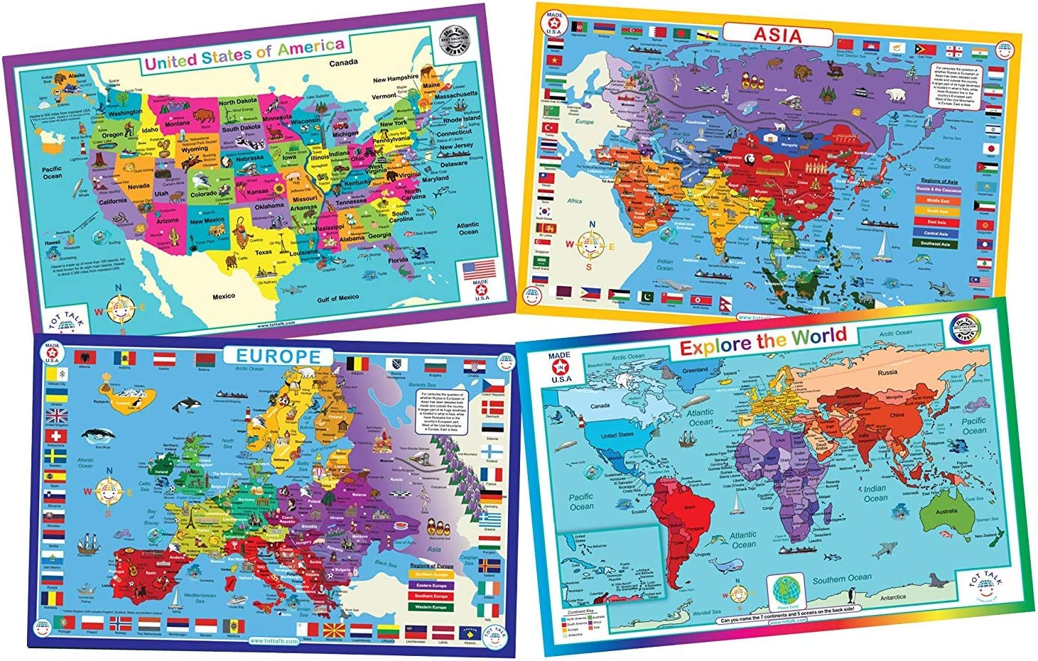 Tot Talk Educational Kids Placemats - Geography Set of 4 Maps: USA, World,  Asia, Europe - Reversible Activities - Waterproof, Washable, Wipeable, ...