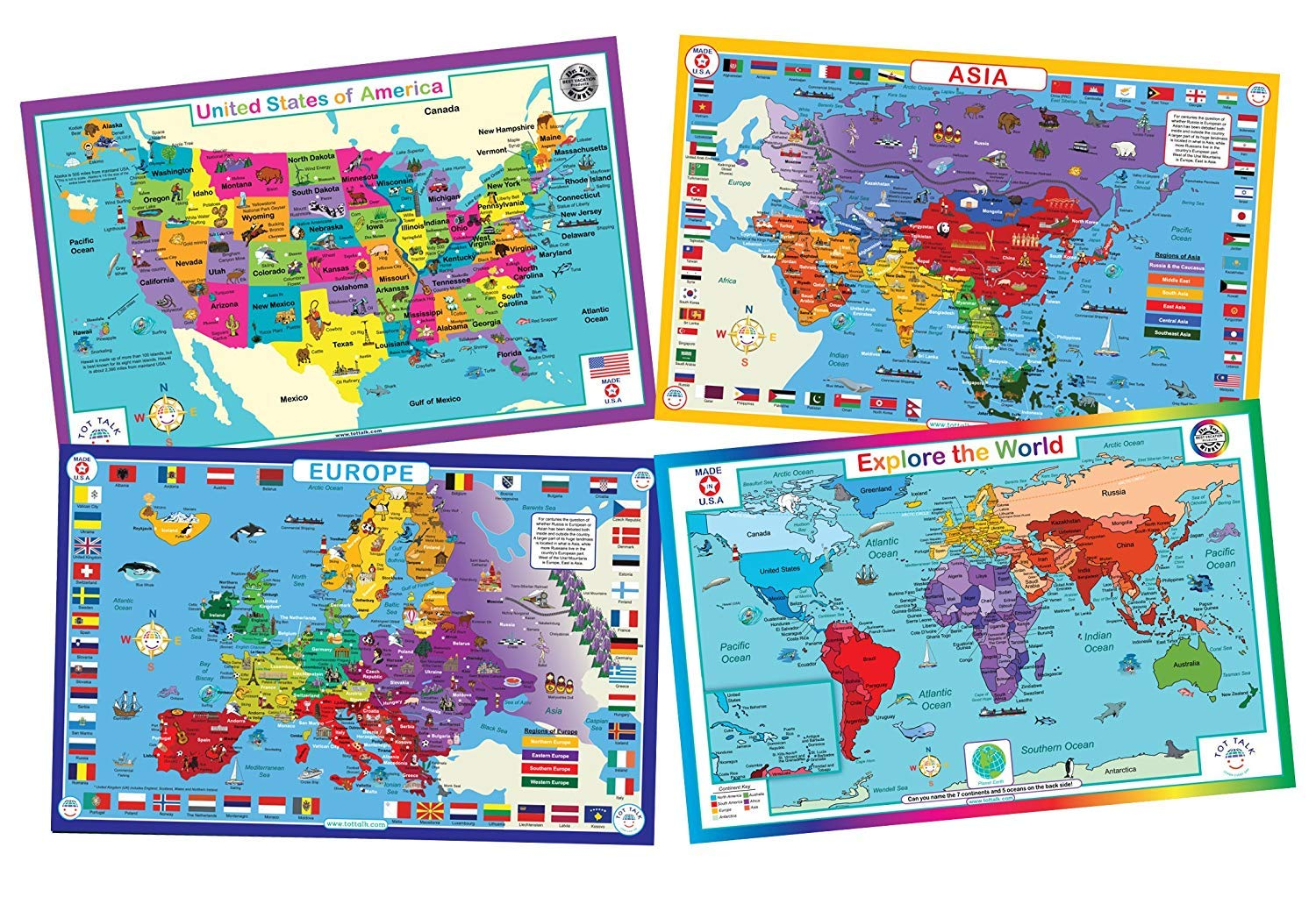 Tot Talk Educational Kids Placemats - Geography Set of 4 Maps: USA, World, Asia, Europe - Reversible Activities - Waterproof, Washable, Wipeable, Durable, USA-Made, Table Mats by Tot Talk