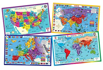 Amazon.com: Tot Talk Educational Kids Placemats - Geography Set of 4 ...