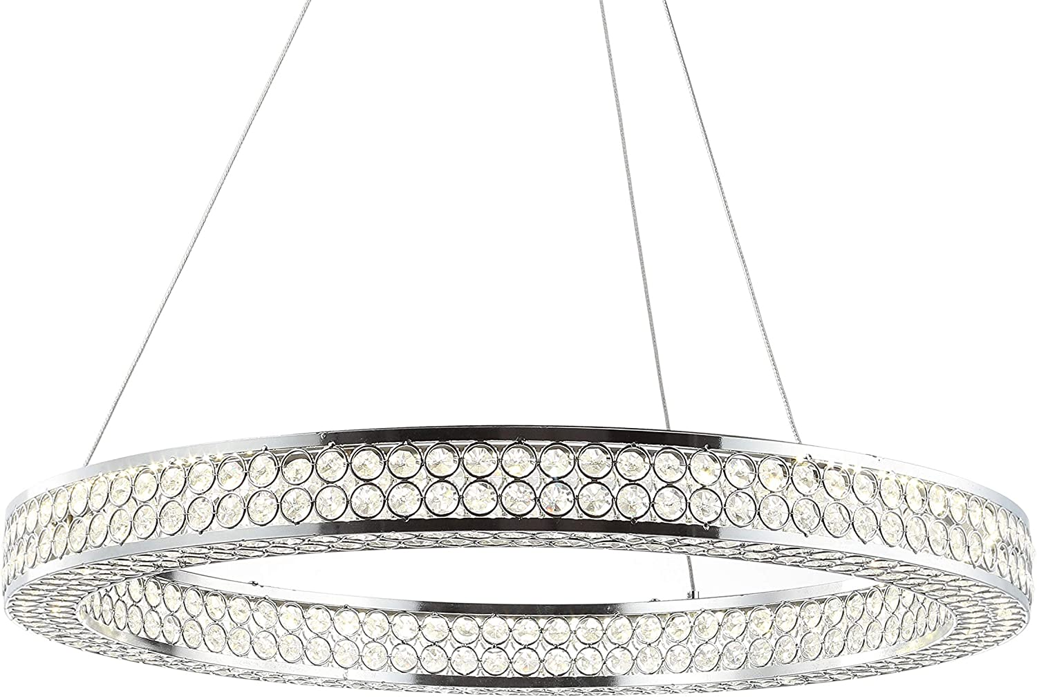 "JONATHAN Y JYL7201A Benton 24.7"" Round Integrated LED Crystal/Metal Chandelier Modern,Contemporay,Transitional,Glam Dimmable, Adjustable, for Dining Room, Foyer, Bedroom, Chrome/Clear"