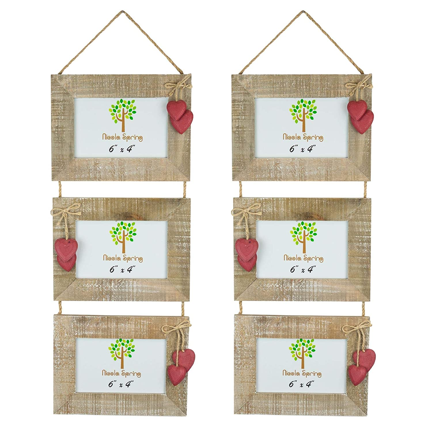 Nicola Spring Triple Wooden 3 Photo Hanging Picture Frame With Red Hearts 6 x 4 Pack Of 2