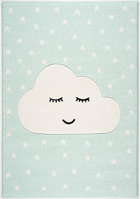 mint Livone Childrens Bedroom Rug Cloud Stars Mint White 120 x 170 cm