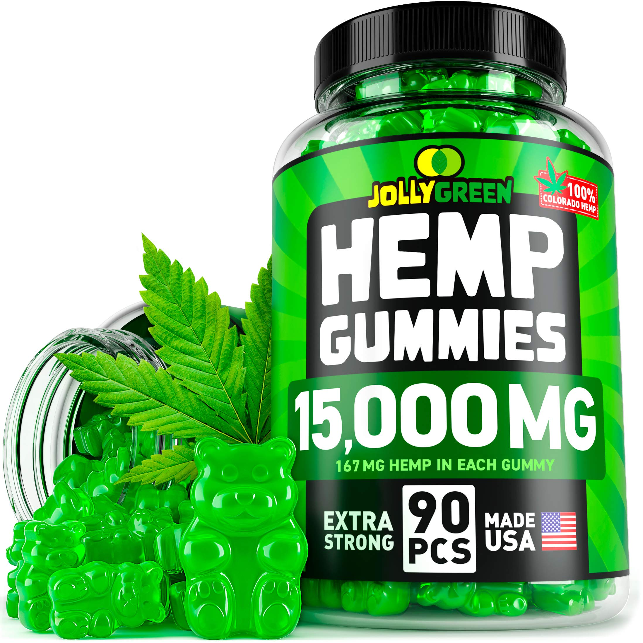 JOLLYGREEN Hemp Gummies - 15000MG in 90 PCS - Effective Anxiety & Stress Relief - Made in USA - Natural Immune Gummies - Tasty & Relaxing - Rich in Omega 3-6-9 - Great Mood Boost & Insomnia Relief by JollyGreen Inc.
