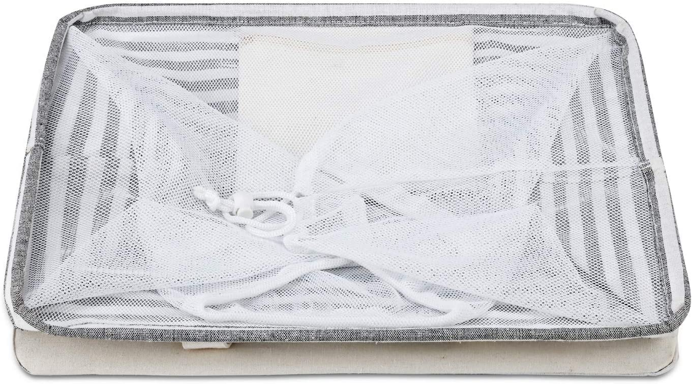 Corbeille /à Linge en Tissu Grande Capacit/é avec Poign/ée Couvercle en Maille pour V/êtements Magicfly 75L Panier /à Linge Sale Pliable et Imperm/éable 60 x 40 x 31 cm Serviettes Jouets Literie