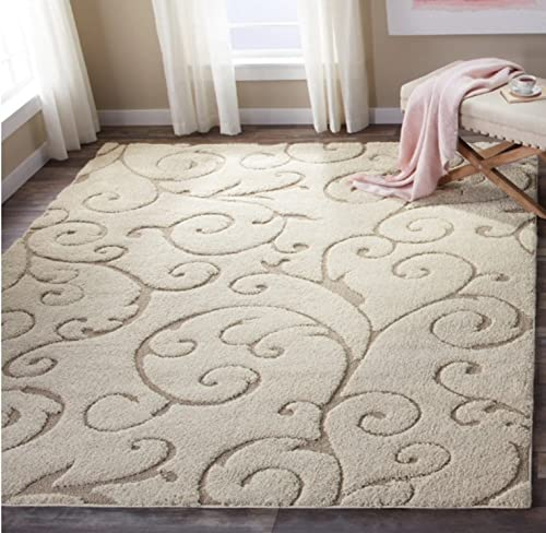 Floral Scroll Motif Area Rug, Featuring Elegant Solid Plush Design, Contemporary Luxury Inspired Shag Home Decor, Rectangle Indoor Living Room Bedroom Dining Doorway Carpet, Beige, Size 8 x 10
