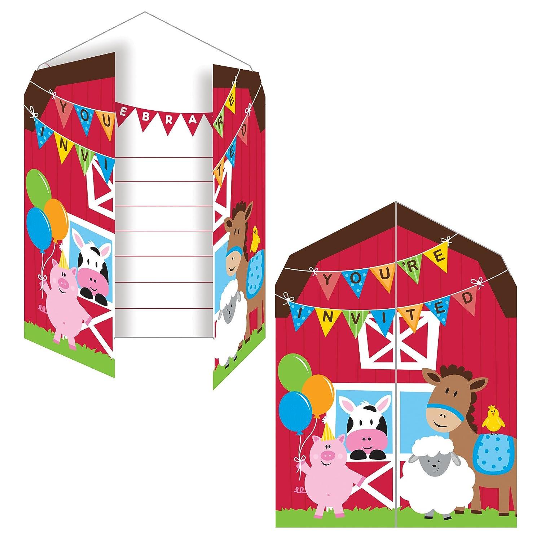 Farmhouse Fun Invitation (8) Invites Farm Animal Barnyard Party Creative Converting 895506