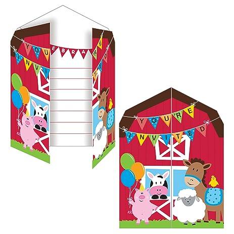 Creative Converting Farmhouse Fun Party Invitation 8 Count