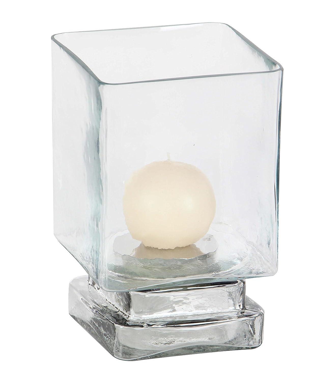 Deco 79 24683 Cylindrical Smoked Glass Hurricane Lamp 10 x 6 Clear//Black