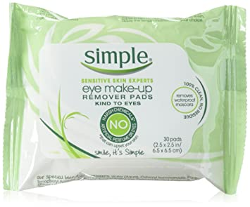 Simple Sensitive Skin Experts Eye Make-Up Remover Pads 30 ea (Pack of 2) Electric Facial Skin Care Pore Blackhead Cleaner Remover Vacuum Acne Cleanser