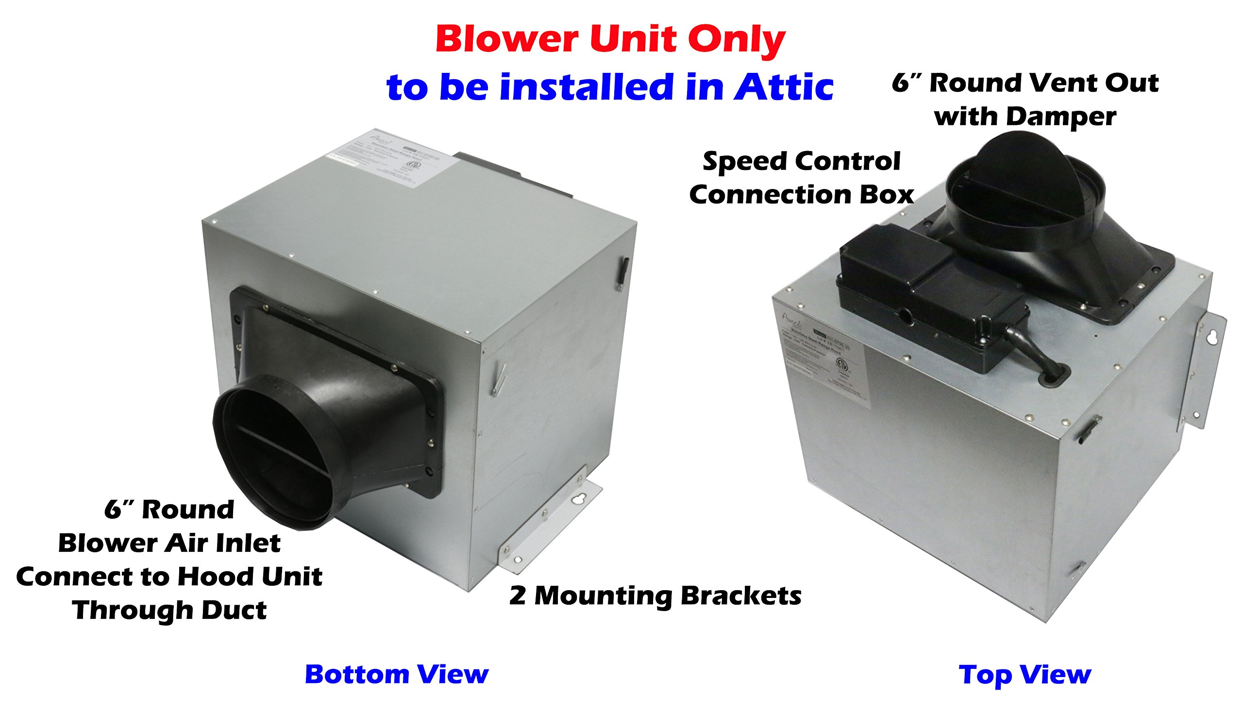 Awoco Split Super Quiet Range Hood Blower Unit Installed in Attic Work with 30'' or 36'' Hood Unit, 4 Speeds 900CFM, 6'' Round Vent In and Out (Blower Unit Only) by Awoco (Image #3)