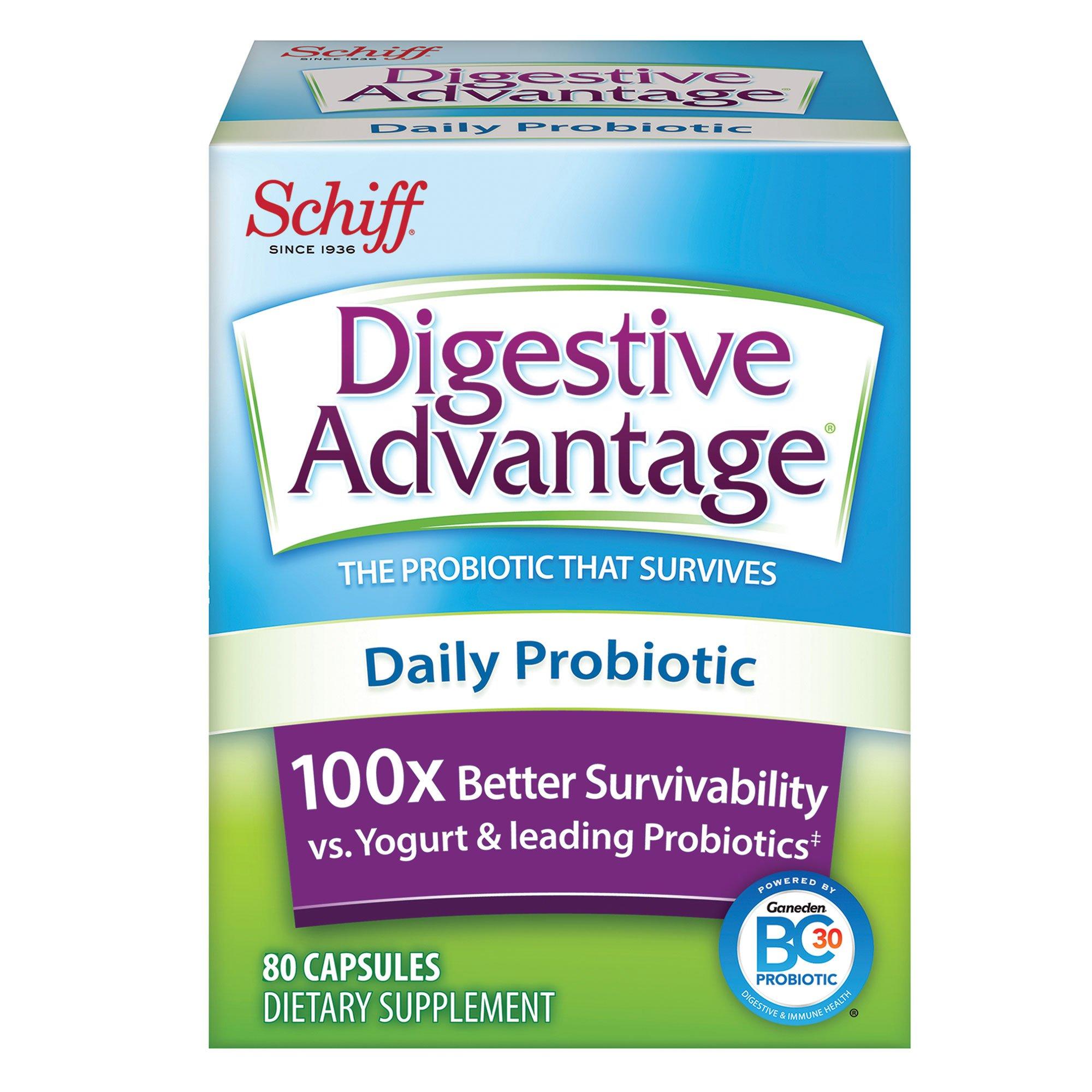 Digestive Advantage Daily Probiotic - Survives Better than 50 Billion - 80 Capsules