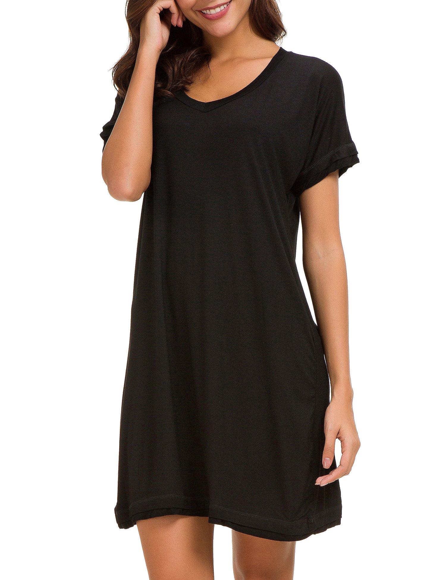Dolay Women's Sleepwear Cotton Sleep Tee Short Sleeves Knit Sleepshirt (Black, XL) by Dolay (Image #6)