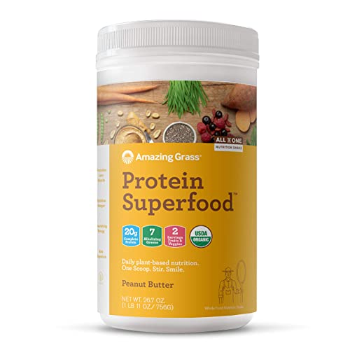 Amazing Grass Protein Superfood Organic Vegan Protein Powder, Plant Based Meal Replacement Shake with 2 servings of Fruits and Veggies, Peanut Butter Flavor, 18 Servings, 26.7 Ounce