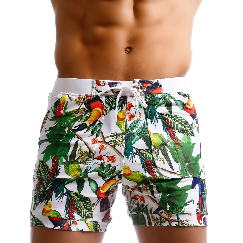Taddlee Men Swimwear Swimsuits Flower Print Surf Board Boxer Shorts Trunks Long (L)