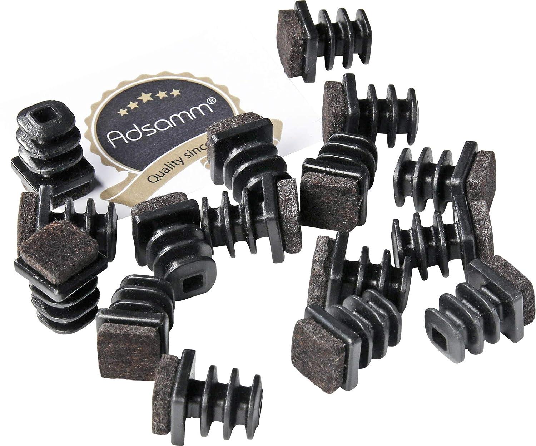 Adsamm/® negro cuadrata 20x20 mm 16 x Contera entrante con fieltro tap/ón deslizante con fieltro para patas de tubo en primera calidad