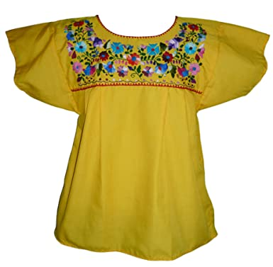 afc2e596df3ee3 Women's Puebla Mexican Blouse - Yellow at Amazon Women's Clothing store: