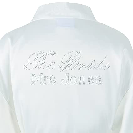 d23fd45405 1 Ivory Personalised Satin The Bride Crystal Bathrobe Wedding Kimono  Dressing gown