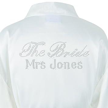 1 Ivory Personalised Luxury Satin The Bride Crystal Bathrobe Wedding Kimono  Dressing gown 322a4f0f1