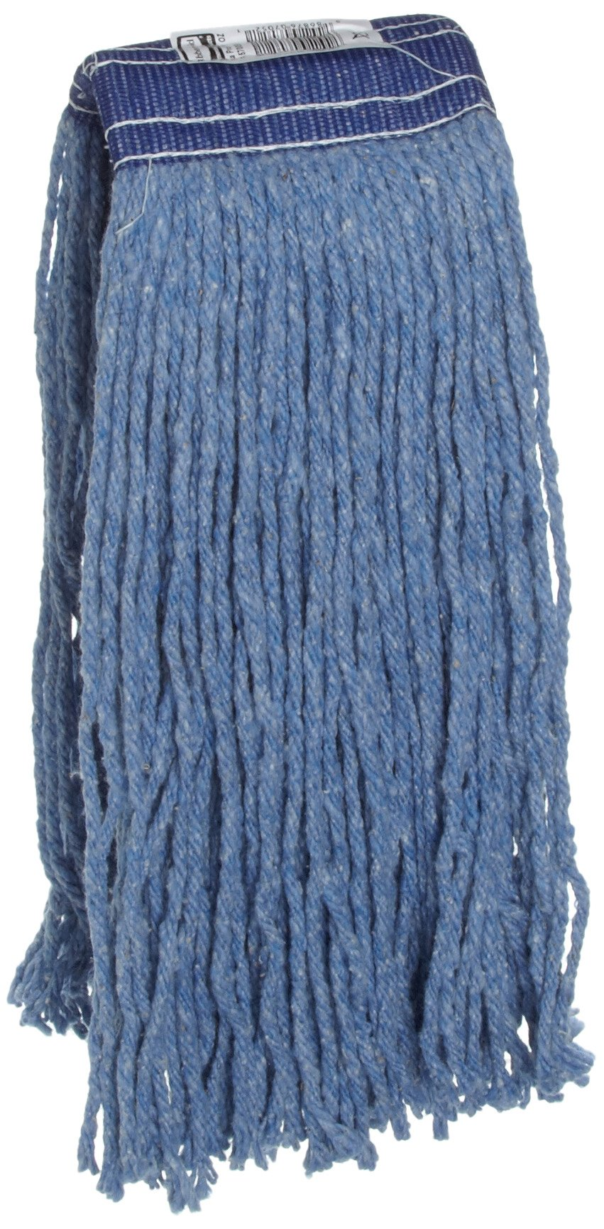 Rubbermaid Commercial Cut End Floor Mops, Blend, Blue, 20-Ounce, 5-Inch Headband, Pack of 12