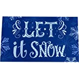 "Let It Snow Door Mat - 18"" x 30"", Blue, White, Snowflakes, Indoor Doormat, Christmas Decoration, Front Door Decor, Classroom,"
