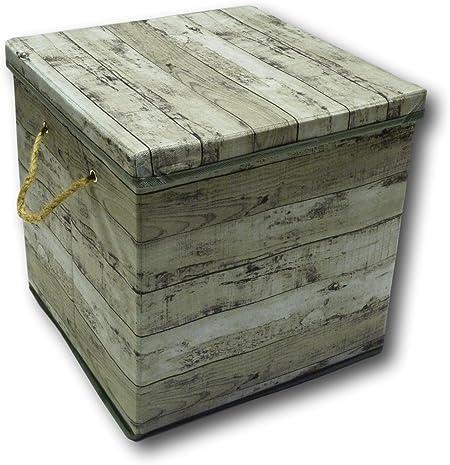 Urban Design - Caja de almacenaje plegable, cajón con tapa y cuerda de transporte de tela en estilo madera retro ...