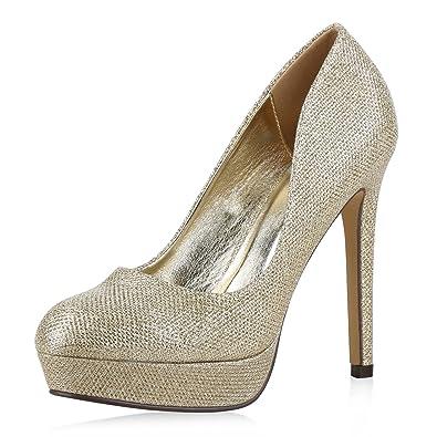 07eff8005faab7 Elegante Damen High Heels Plateau Pumps Gelb 40 Jennika napoli-fashion