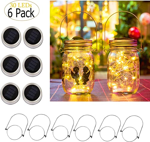Solar Mason Jar Lights, 6 Pack 30 Led String Fairy Star Firefly Jar Lids Lights, Jars Not Included, Best for Mason Jar Decor,Great Outdoor Lawn Decor for Patio Garden, Yard Warm White