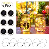 ZNYCYE Solar Mason Jar Lights, 6 Pack 30 Led String Fairy Star Firefly Jar Lids Lights, Jars Not Included, Best for…