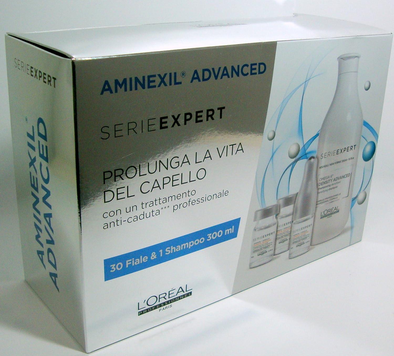LOréal - Aminexil Advanced 2018 - Tratamiento anticaída profesional 30 ampollas + Champú 300 ml: Amazon.es: Belleza