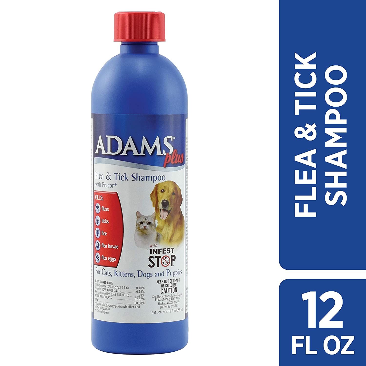 Adams Plus Flea & Tick Shampoo with Precor for Dogs and Cats