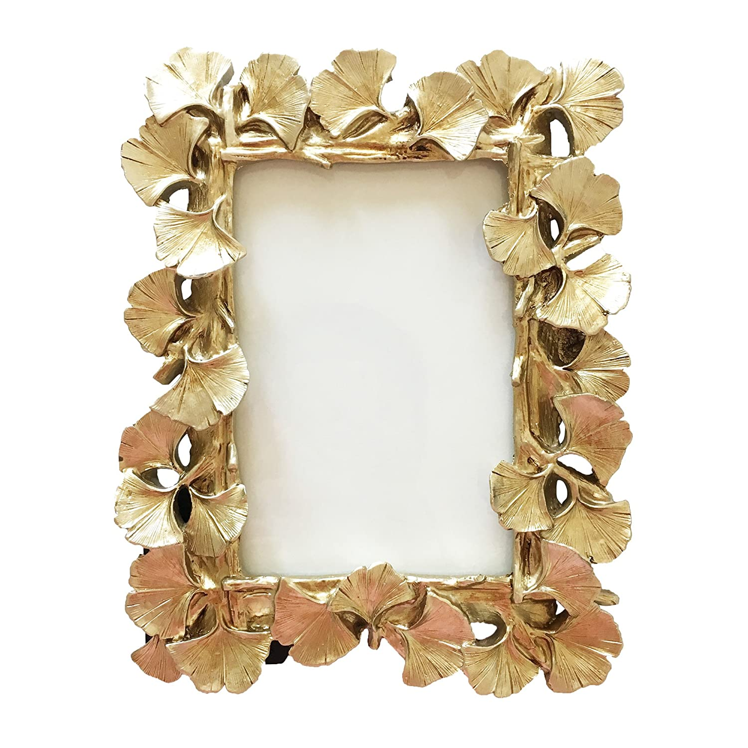 BeneAlways Ginkgo Leaves Photo Frame Polyresin Picture Frame for Photo Lovers (Gold Rectangle)
