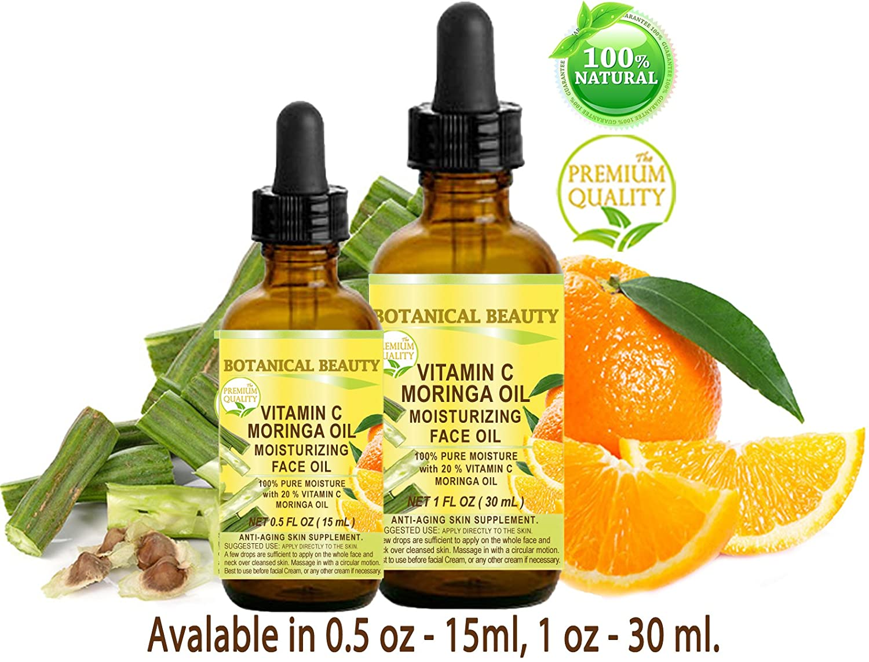 VITAMIN C MORINGA Aceite facial. Anti-envejecimiento, hidratante, regenerador y nutritivo. 20% de vitamina C y 100% de aceite de Moringa puro.